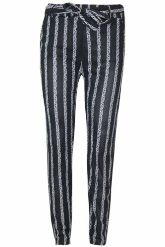 New Women Side Stripe Paper Bag Ladies Tie High Waisted Belted Cigratte Trousers