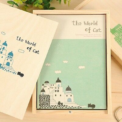 """Cat World"" 1pc Cute Blank Diary Planner Journal Wooden Box Study Notebook Memo"