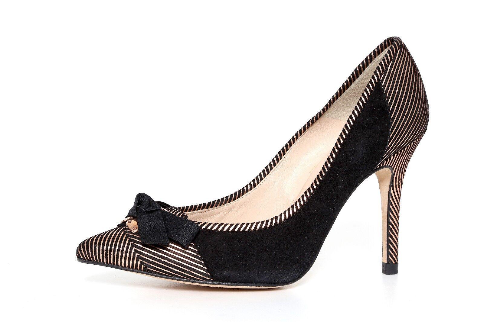 L.K. Bennett Women's Suede Pointed Toe Toe Toe Striped Pumps 2734 Size 37.5 751384