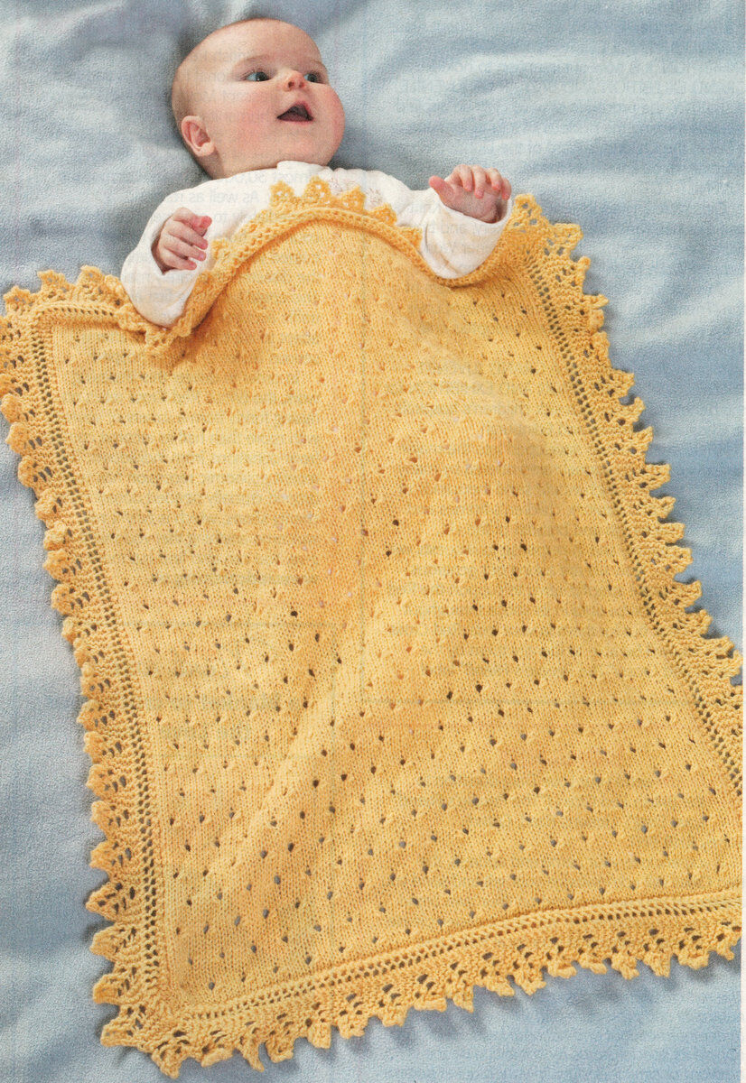 Pretty Eyelet Baby Blanket DK 61cmx76cm Knitting Pattern eBay