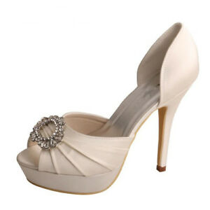 Bridal Wedding Shoes D Orsay Peep Toe Diamante 12cm Heel Platform