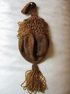 Antique Art Deco Brown Amber Yellow Bead Fringe Tassel Lined Flapper Purse Periods & Styles