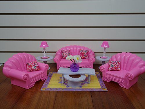 Gloria Barbie Size Dollhouse Living Room Dolls Play Set Furniture Doll House Toy