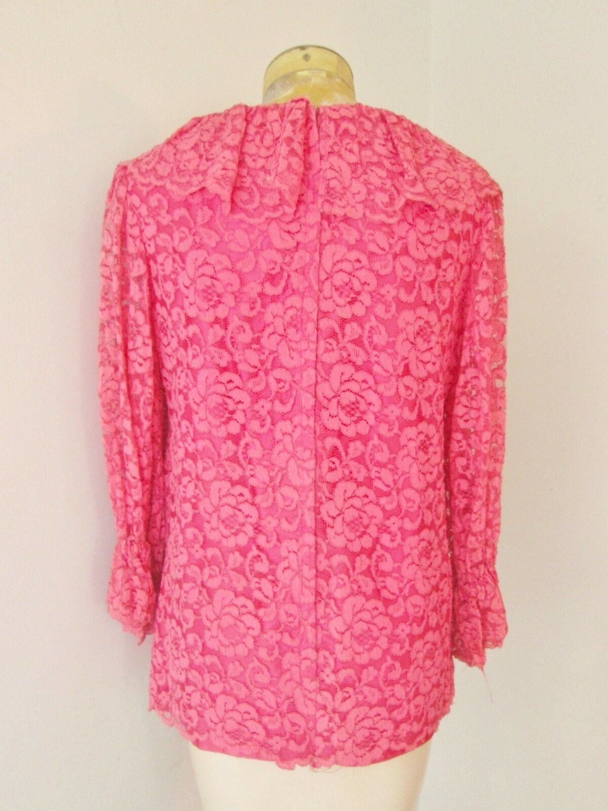 Vtg 60s pink 2-pc babydoll top bell bottom lace p… - image 5