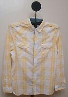 Buffalo Dark Yellow & White Checked Slim Fit Long Sleeve Casual Shirt - Size 2x