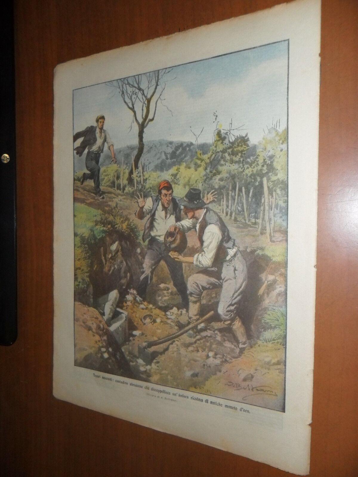 CONTADINO DISSEPPELLISCE UN'ANTICA ANFORA PIENA DI MONETE D'ORO ABRUZZO 1911