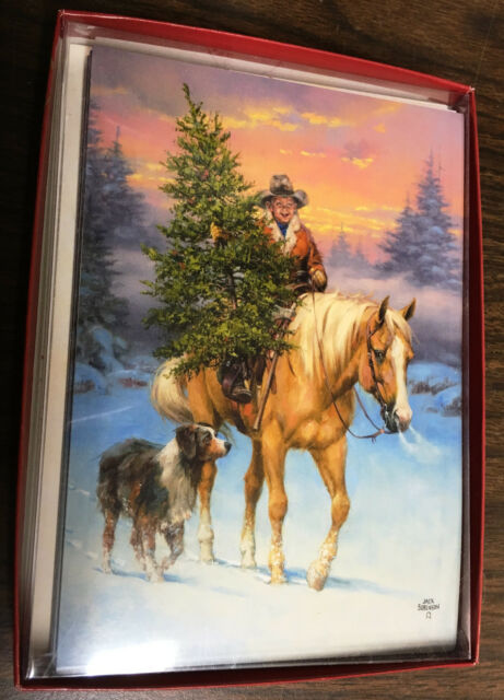 New Leanin' Tree Boxed Christmas Cards Boy Horse Dog Tree w/Design Envelopes NR