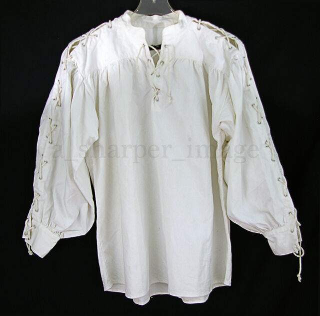 51369f9ff7d Laced Sleeves & Neck White Shirt Celtic/Colonial/Pirate/Renaissance Cosplay