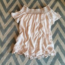 New ANTHROPOLOGIE Women's Sweet Market Cream Floral Lace Shift Tunic Dress Large