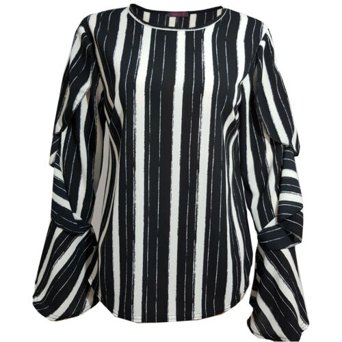 Womens Ruffle Shirt Ladies Long Bell Sleeves Tops Summer Casual Tee New Size S-L