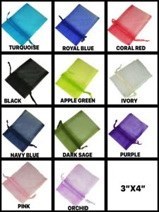 """PACK Of 10 Sheer 3""""x4"""" Drawstring Organza Bags Party Favors Gifts Choose color"""