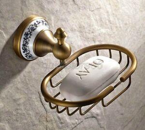 Antique-Porcelain-Base-Wall-Mount-Brass-Bathroom-Soap-Dish-Holder-Basket-qba409