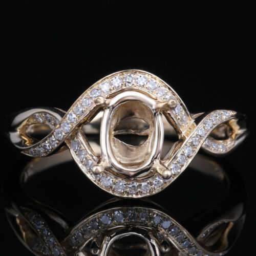 Semi Mount Oval 7x5mm Natural Diamonds Ring Setting Sterling Silver Fine Jewelry