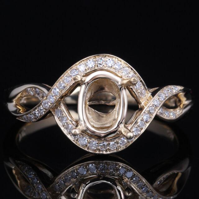 Solid 10k Yellow Gold 7x5mm Oval Cut Natural Diamonds Semi Mount Setting Ring
