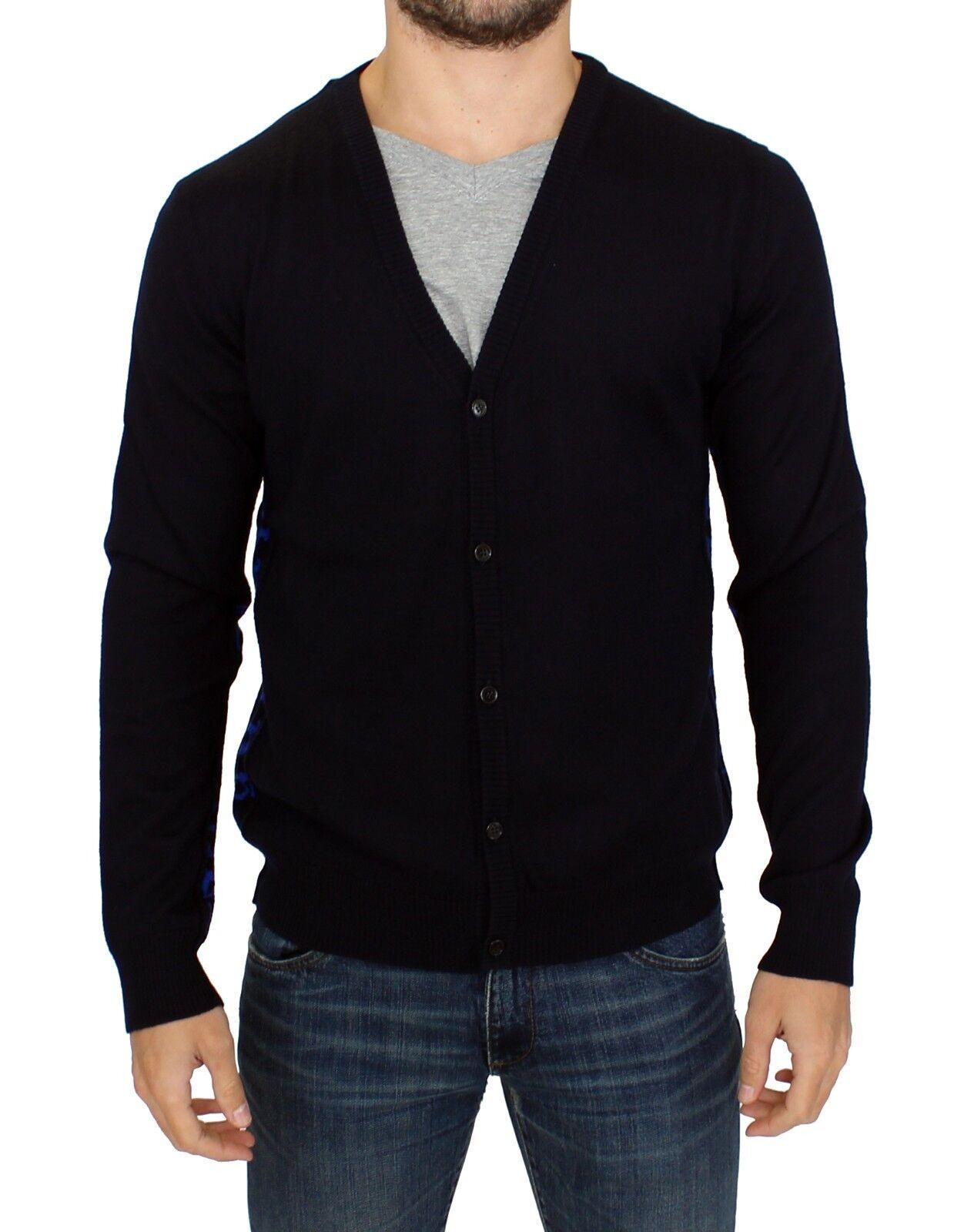 NEW 360 GALLIANO Cardigan Dark Blau Wool Blend Button Down Sweater Top s. XL