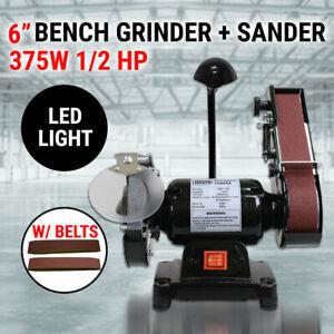 """6"""" Bench Grinder Belt Sander 1/2HP 375W 150mm Sharpener Linisher Sanding Grindin"""