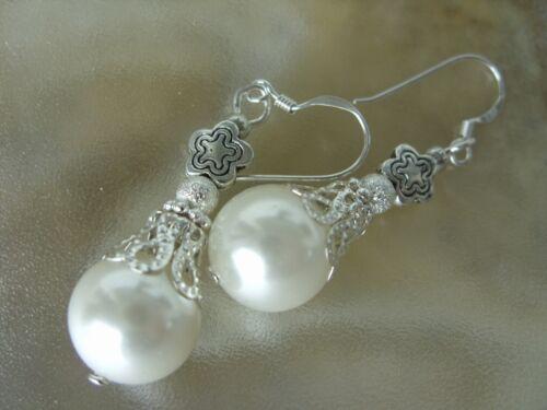 11,8 mm weiße Perle Muschelkernperle Ohrringe Ohrhänger mit 925 Silber Haken