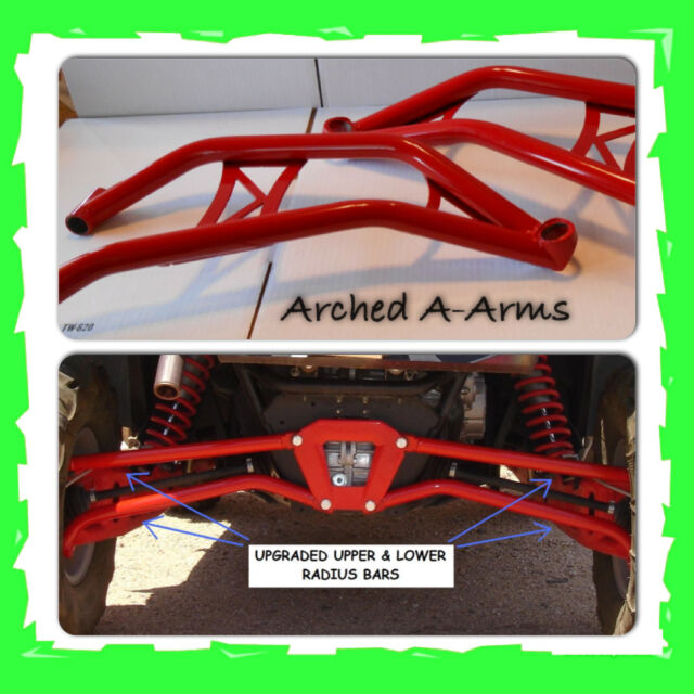 EXTREME CLEARANCE CHROMOLY ARCHED A-ARMS + REAR RADIUS BARS - RZR XP 4 1000 RED
