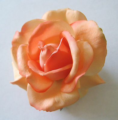 "4""Apricot,Cream Real Touch Rose,Poly Silk Flower Brooch Pin,Hat,Lapel,Scarf"