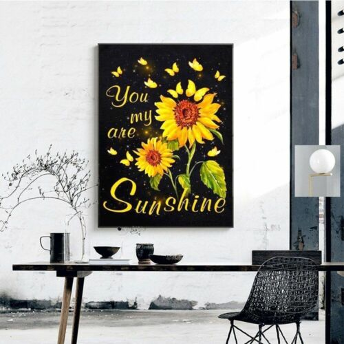 Diamond DIY Painting Sunflowers And Word Text Designs House Wall Decors Displays