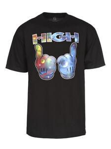 Mens-Galaxy-High-Hands-Short-Sleeve-Black-T-Shirt