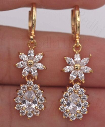 "18K or jaune rempli 1.5/"" Boucles d/'oreilles Zircon Fleur Poire Cut Dangle Stud Pageant"