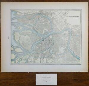 Vintage-1900-ST-PETERSBURG-RUSSIA-Map-14-034-x11-034-Old-Antique-Original-HERMITAGE