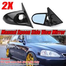 For 1996-2000 Honda Civic JDM Spoon Side Door Manual Mirrors Black