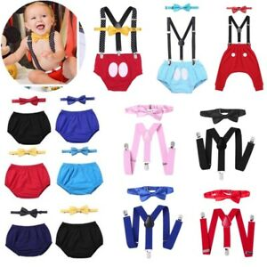 Suspenders Headband Photo Props Costume Baby Boys Cake Smash Outfit First 1st Birthday ONE Bloomers Bowtie