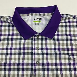 Izod Perform Golf Polo Shirt Men's 2XL XXL Short Sleeve Gingham 100% Polyester