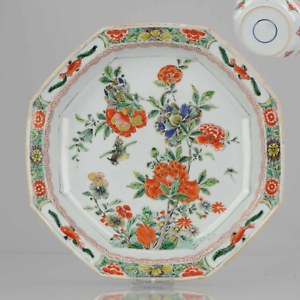 Antique-ca-1700-Kangxi-Famille-Verte-Chinese-Porcelain-Plate-Birds-Fishe