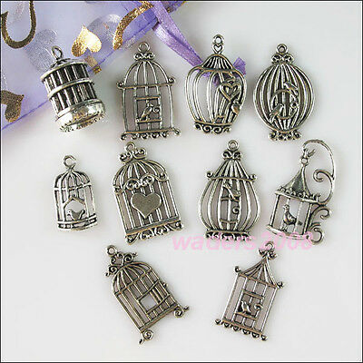 10Pcs Mixed Lots of Tibetan Silver Tone Birdcage Charms Pendants