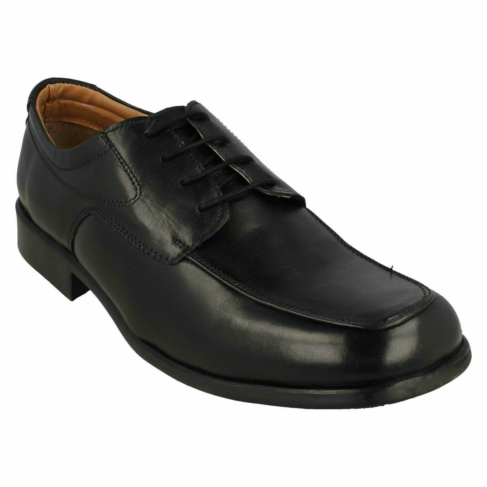 CHALK FARM CARAVELLE MENS LEATHER LACE UP OFFICE SMART FORMAL CASUAL BLACK SHOES