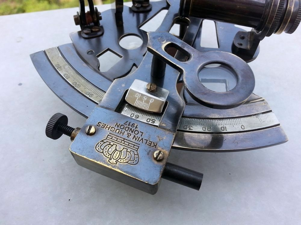 nautical brass wooden antique marine sextant w box navigation handmade ship old