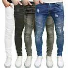 Enzo Mens Designer Branded Stretch Skinny Fit Ripped Distressed Biker Jeans BNWT