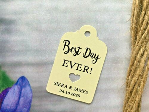 Personalised Best Day Ever Tag Wedding Favour Tags Hen Shower Thank You BDE15a