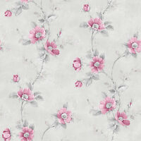 Rg35733 - Rose Garden Floral Trellis Grey Natural Pink Galerie Wallpaper
