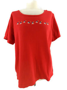 Quacker-Factory-Shirt-Top-Embroidered-Sail-Boats-Red-Short-Sleeve-Women-039-s-Size-L