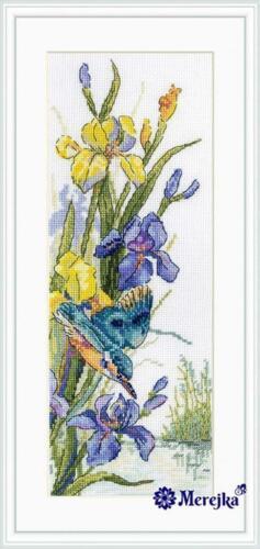 Kingfisher/'s Flight Iris Bird Merejka Counted Cross Stitch Kit