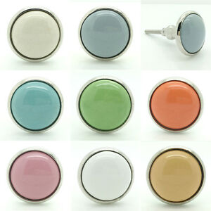 Plain Coloured Ceramic Door Knobs Pull Handles Porcelain Kitchen Cupboard 4501