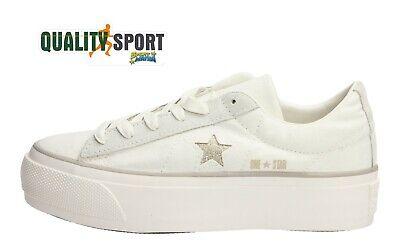 Converse One Star OX Platform Beige Scarpa Shoes Donna