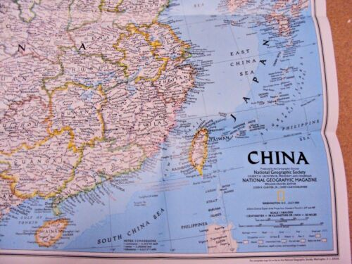 National Geographic Map Of China.National Geographic July 1991 Map Poster China History Population