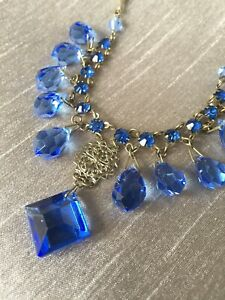 Vintage-Sapphire-Blue-Glass-Crystal-Briolette-Droplets-Rhinestone-Bib-Necklace