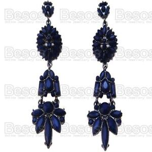 ORNATE-long-NAVY-BLUE-gothic-CHANDELIER-EARRINGS-black-VICTORIAN-ANTIQUE-STYLE
