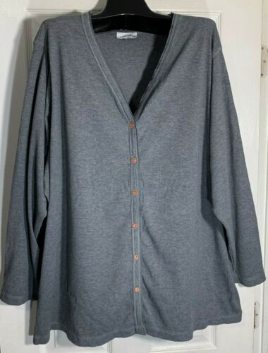 New women Avenue Big size cardigan 4XL grey ribbed Knit 6 buttons open front