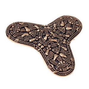 Kleeblattfibel Replik aus der Wikingerzeit mit Greiftier-Ornamentik aus Bronze