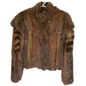 Raccoon M Rabbit Sz 4 Jacket Fur With Real Tails Womens Bomber Brown n8xPwWFqxA