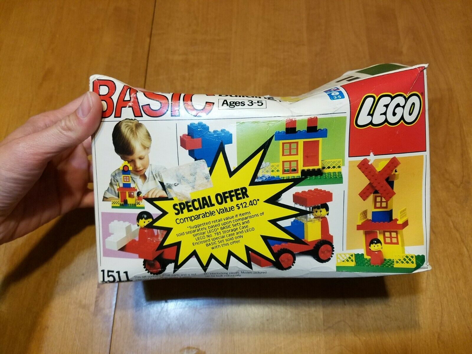 Lego 1511 Basic Building Toy Ages 3-5 60 interlocking pieces 1986 RARE NEW READ