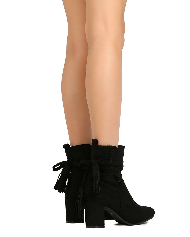 Refresh city01 Women Faux Suede Almond Toe Wrapround Tasseled Chunky Heel Bootie