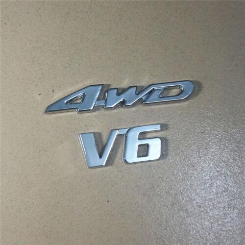 Silver Chrome 4WD+V6 High Metal Emblem Sticker Badge suv Decal 3D Racing sport